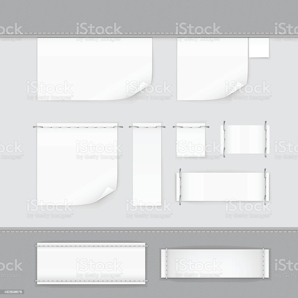 Label Tag Stitch Set White Vector Isolated vector art illustration