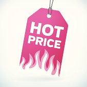 HOT PRICE label vector tag. isolated from background. layered.