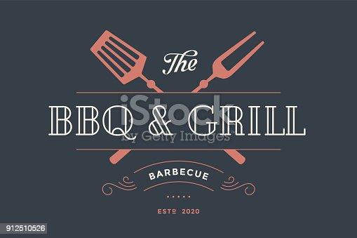 Label template for meat restaurant with grill fork, text BBQ, Grill, Restaurant, Barbecue. Graphic design for meat business - restaurant, bar, cafe, food court and brand, label. Vector Illustration