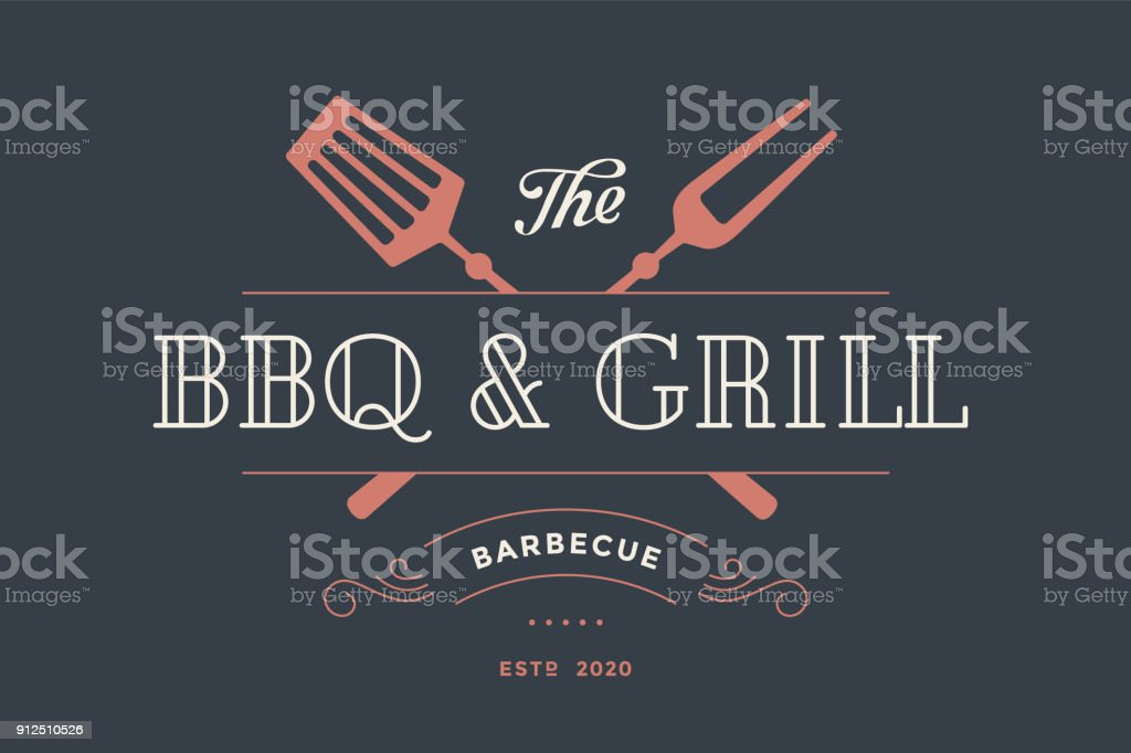 Label template for meat restaurant vector art illustration