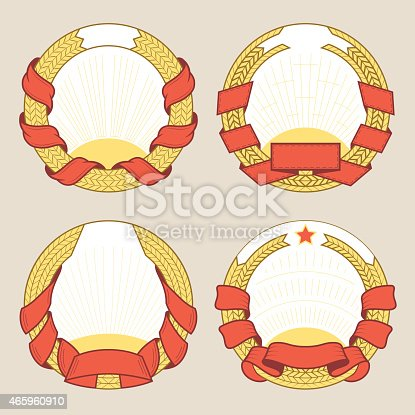 Set of vector round blazons and labels templates. Logotypes and badges stencils with various design elements. Graphic collection for product promotion and advertising isolated on beige background
