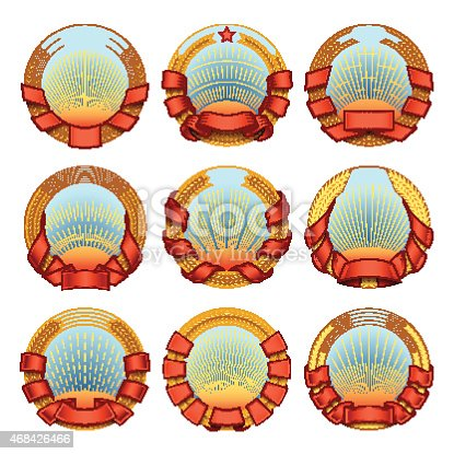 Set of vector round blazons and labels templates. Logotypes and badges stencils with various design elements. Graphic collection for product promotion and advertising isolated on white background
