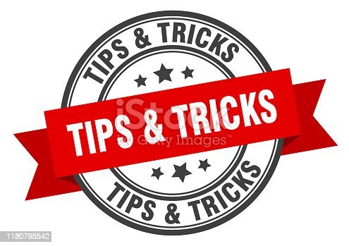 tips & tricks label. tips & tricks red band sign. tips & tricks