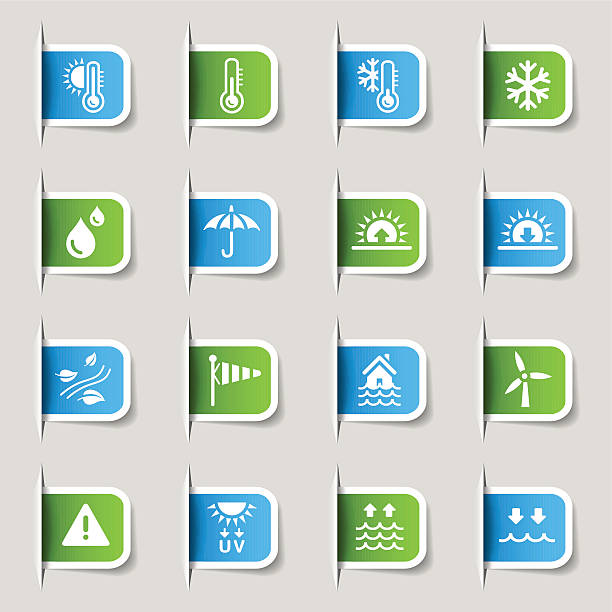 label wetter und meteorologie symbole - schneeflocke sonnenaufgang stock-grafiken, -clipart, -cartoons und -symbole