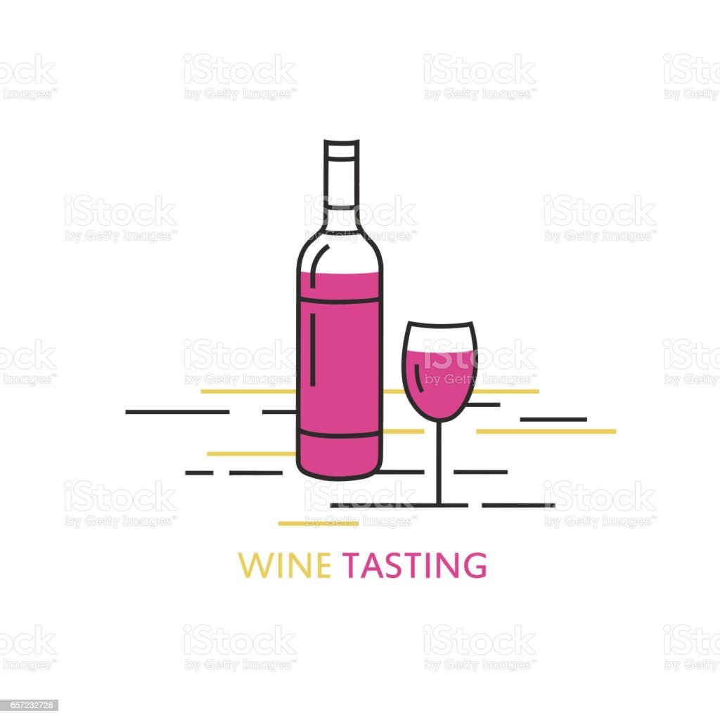 label wine tasting line style logo design template with bottle of