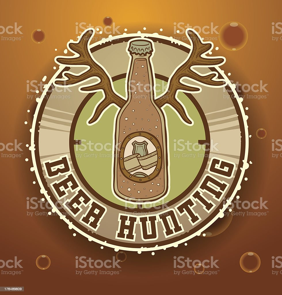 Label with a bottle of beer hunting royalty-free stock vector art