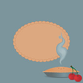 Label on a blue background with a delicious steamy cherry pie. A versatile vintage vector illustration suitable for everything from a cookbook cover to a card. Global colors, EPS 10, easy to modify.