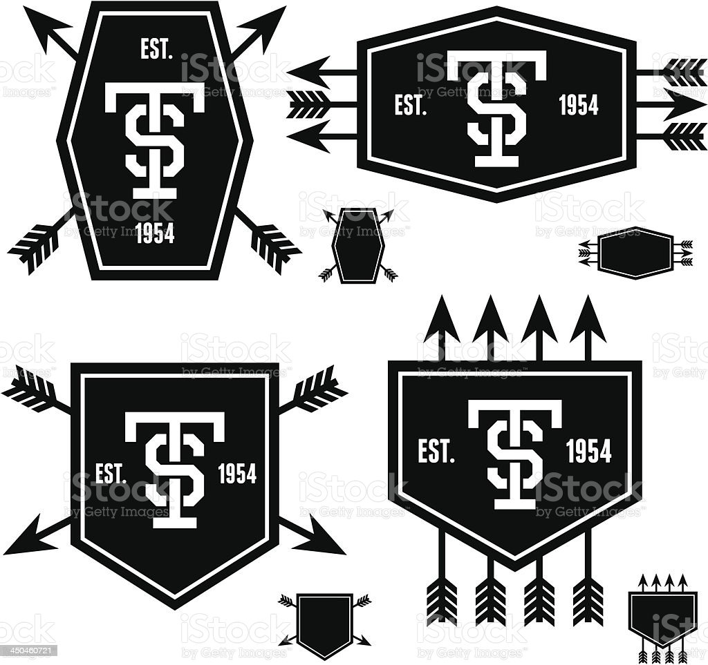 label with arrows and shield royalty-free label with arrows and shield stock vector art & more images of 1920-1929