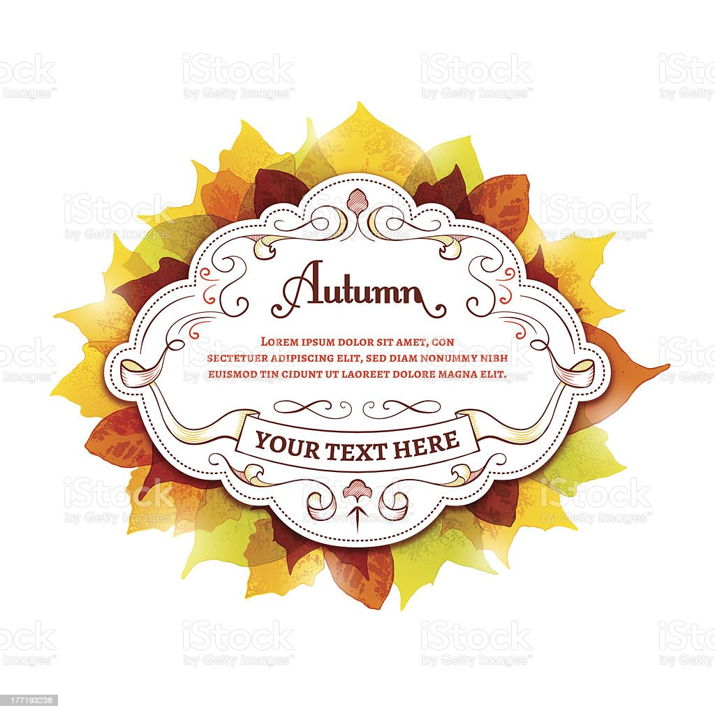 Label With Autumn Leaves royalty-free stock vector art