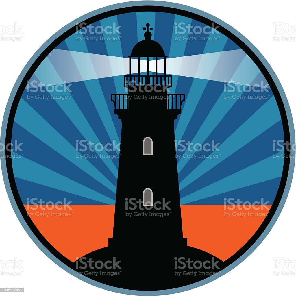 Label with lighthouse vector art illustration