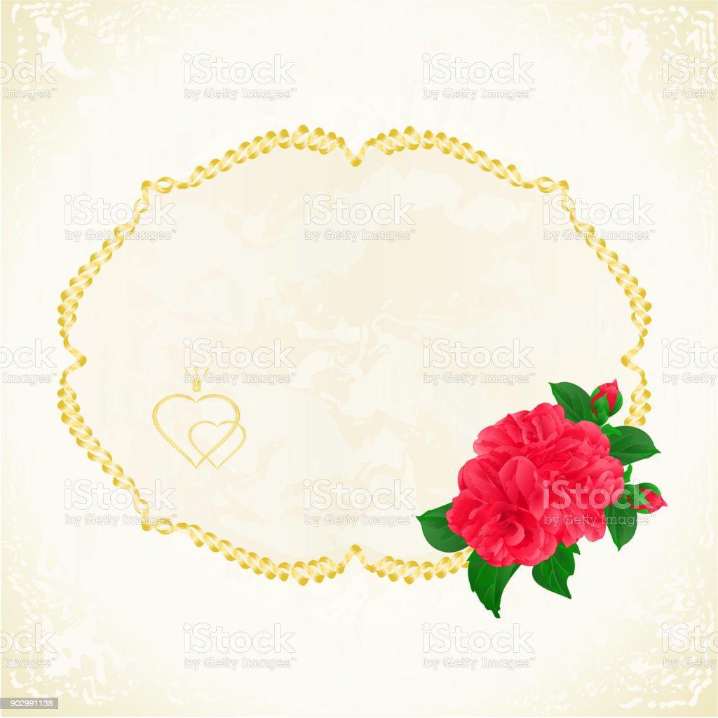 Beschriften sie mit roten camelia japonica festliche blumenkarte vintage vektor illustration bearbeitet werden lizenzfreies beschriften