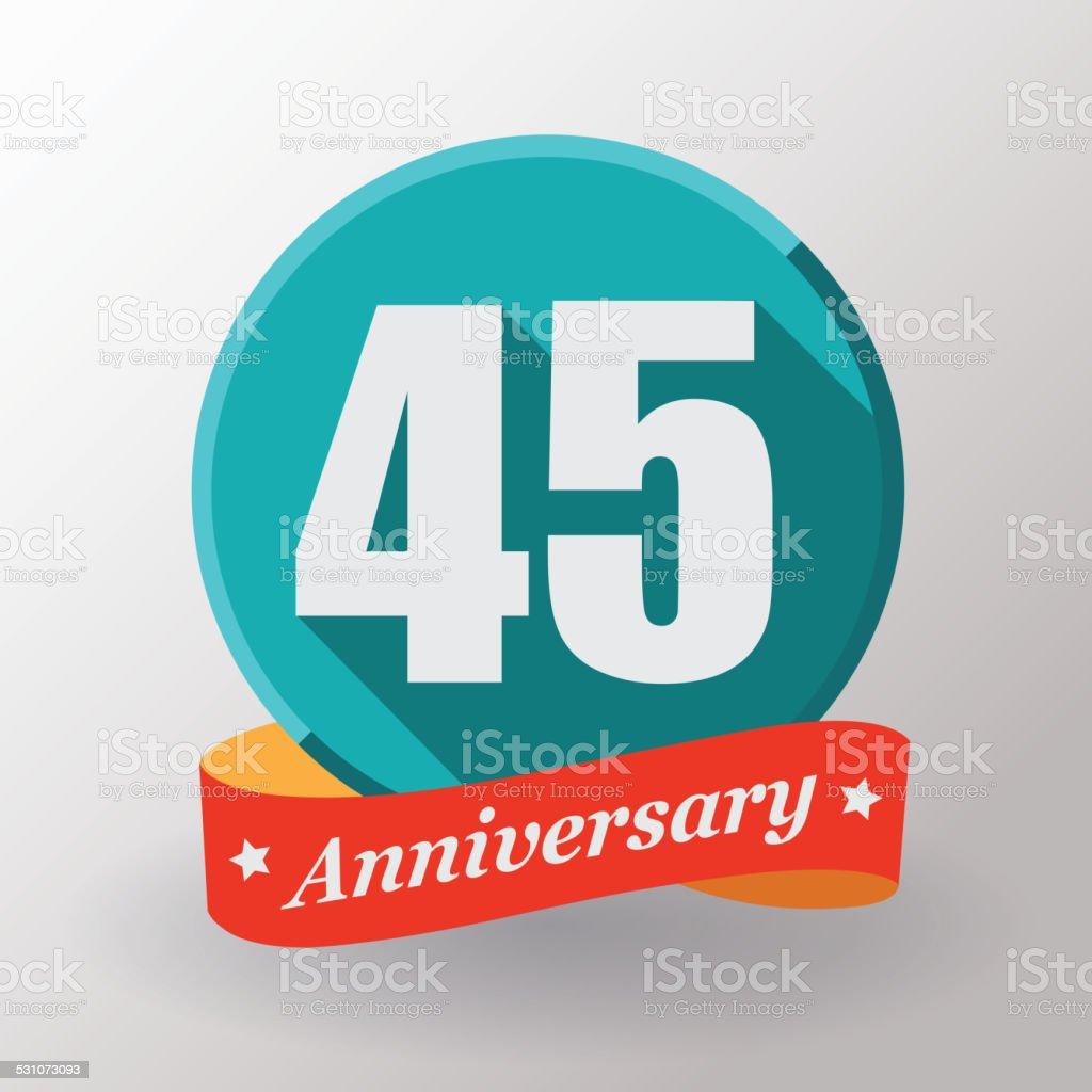 Label Mit Band 45 Geburtstag Stock Vektor Art Und Mehr Bilder Von