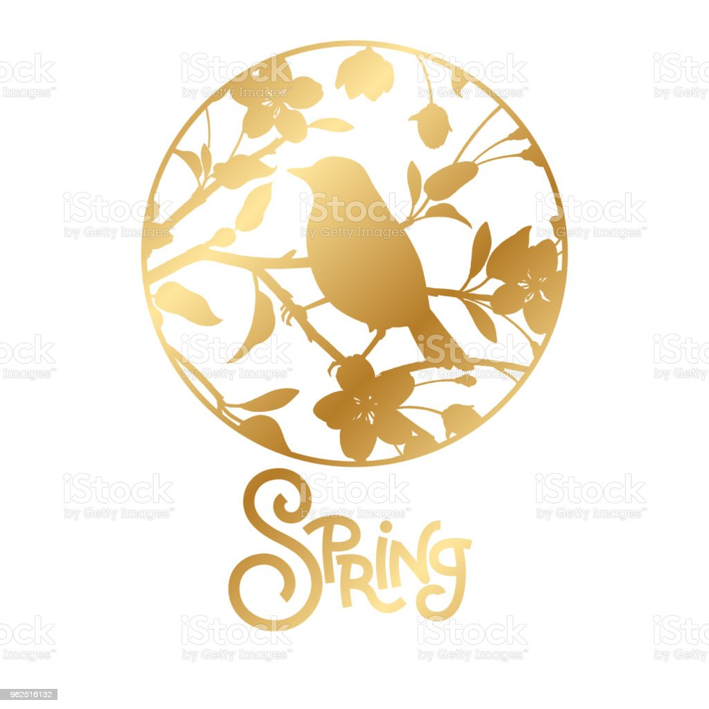 Label with silhouette of a branch of Japanese cherry and bird. - Royalty-free Abstract stock vector