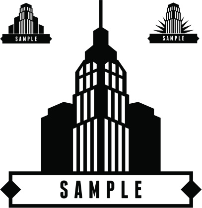 label with skyscrapers