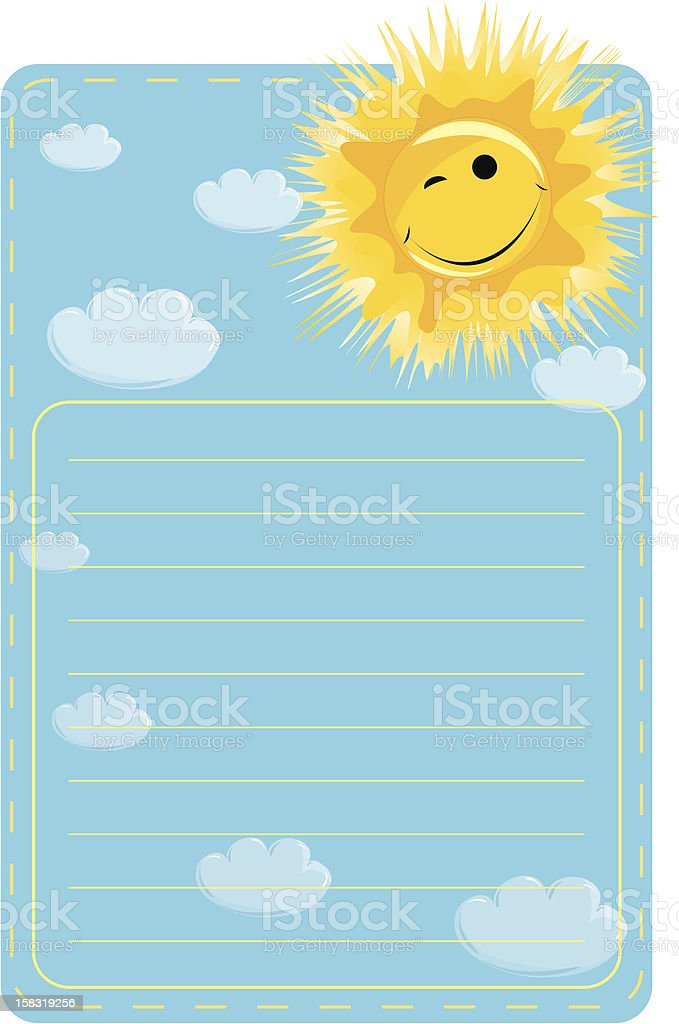 label with sun and clouds