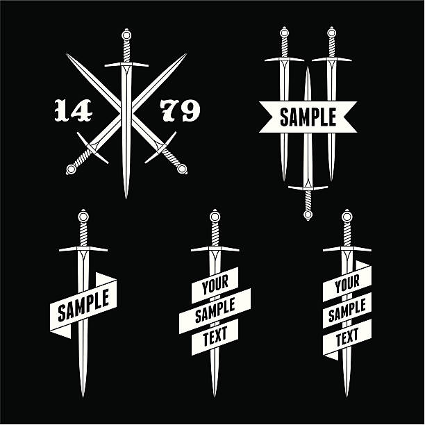 label with sword and ribbon - swords tattoos stock illustrations, clip art, cartoons, & icons