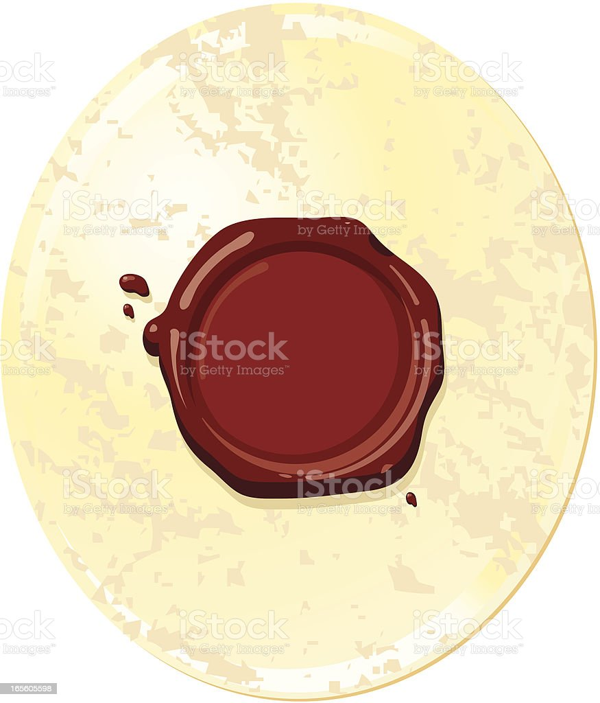 Label with wax seal vector art illustration