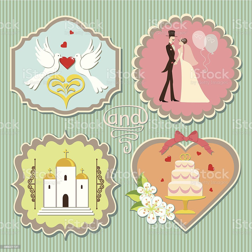 Label with wedding elements vector art illustration