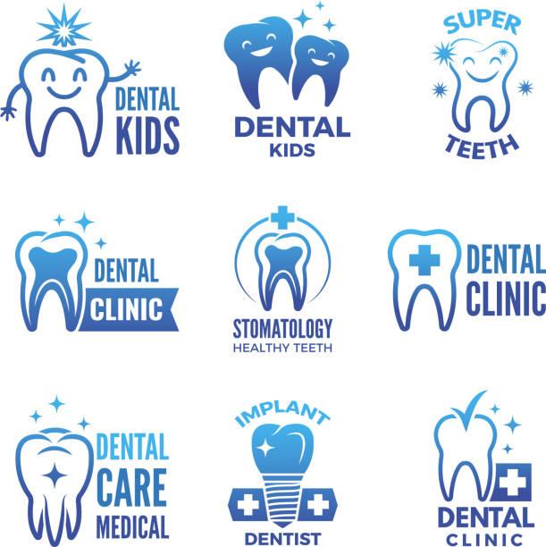 labels und logos satz von dental design und illustrationen von gesunden zähnen - zahnarzt logos stock-grafiken, -clipart, -cartoons und -symbole