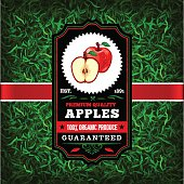 A vintage styled label featuring apples. EPS 10 file, layered & grouped, with meshes and transparencies (shadows & overall effects only).