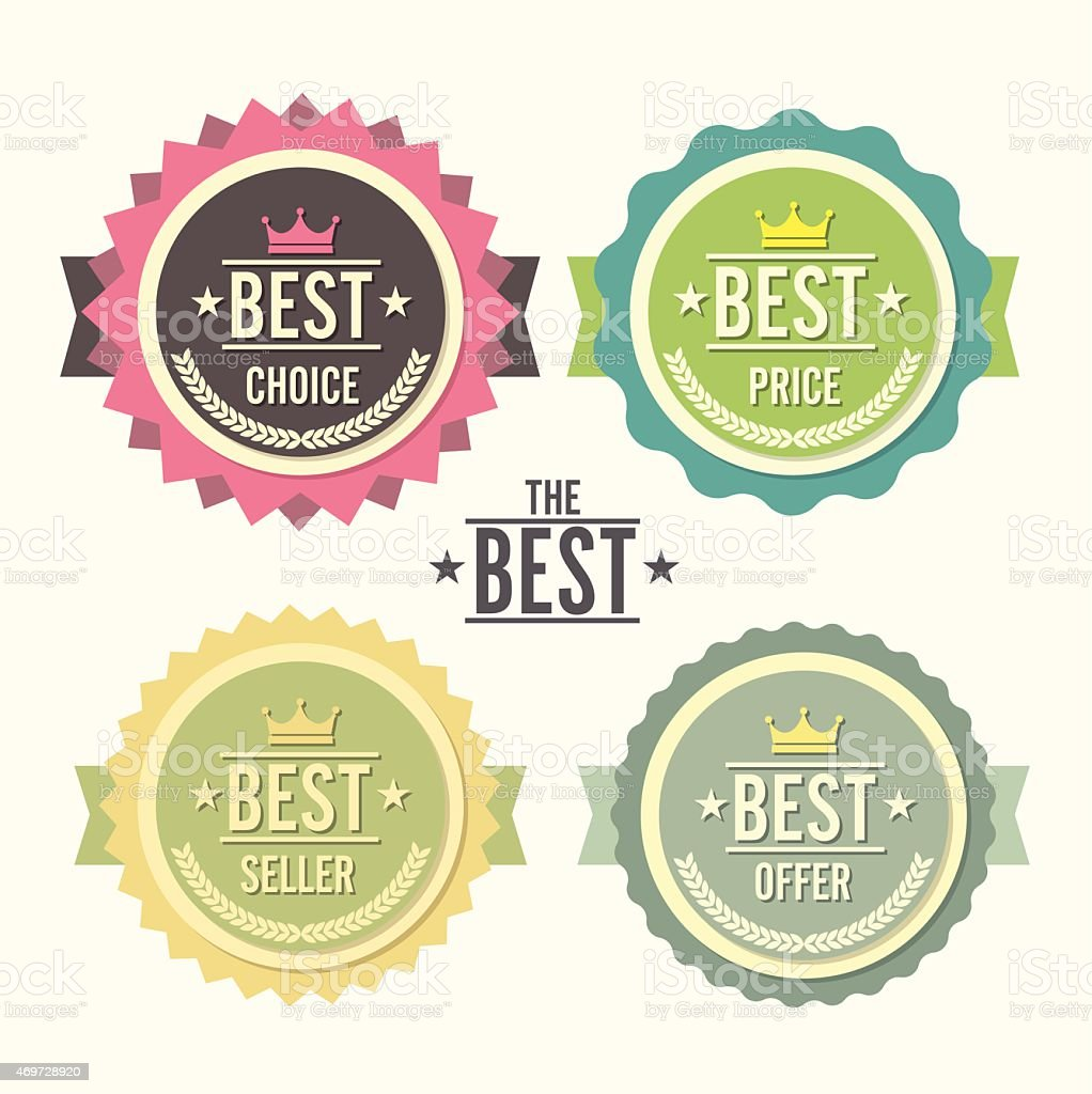 Labels award emblem with choice price seller offer vector art illustration