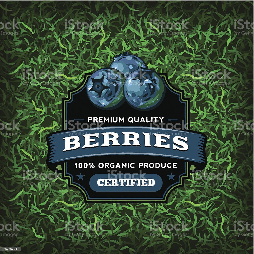 F&B Labels - Blueberries vector art illustration
