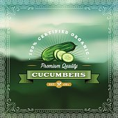 A vintage styled label featuring cucumbers. EPS 10 file, layered & grouped, with meshes and transparencies (shadows & overall effects only).
