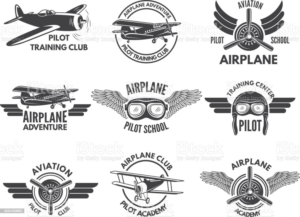 Labels design template with pictures of airplanes vector art illustration