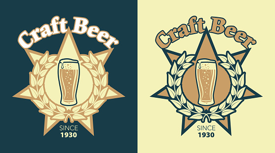 Labels for Beer and Brewery in Retro Style