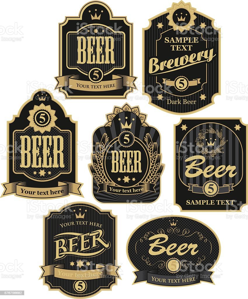 labels for beer vector art illustration