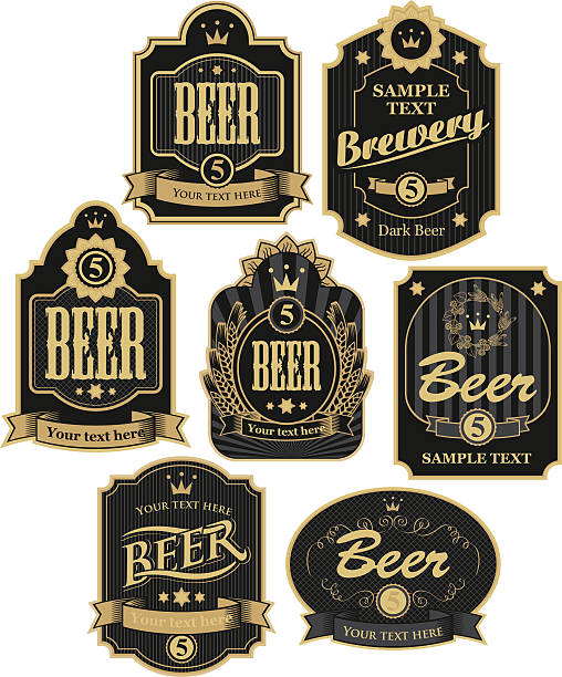 labels for beer - alcohol drink borders stock illustrations