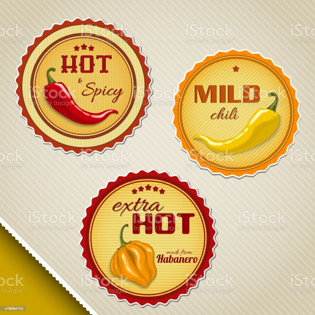 Labels for chili sauces vector art illustration