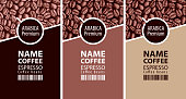 labels for coffee beans with cup and barcode