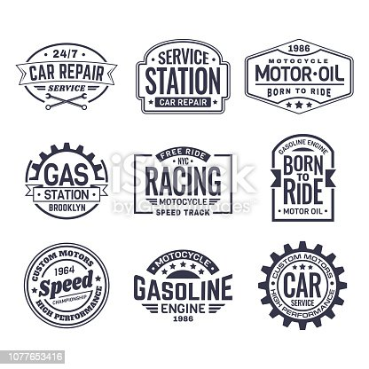 Set of isolated logo for car repair service station and motor oil maintenance labels, retro racing club icon and vintage gas station sign, american motors logotype. Vehicle and automobile theme