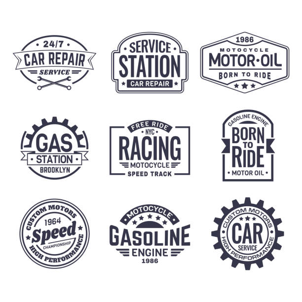 labels for gas station,car repair service,racing - mechanic stock illustrations, clip art, cartoons, & icons