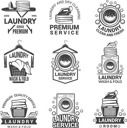 Labels for laundry service. Vector monochrome pictures