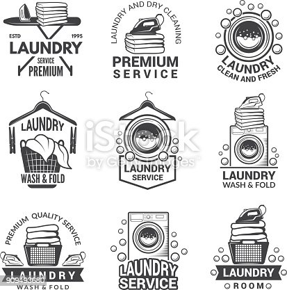 Labels for laundry service. Vector monochrome pictures. Laundry logo and household wash illustration