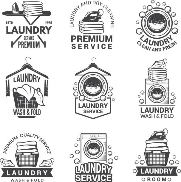 Labels for laundry service. Vector monochrome pictures Labels for laundry service. Vector monochrome pictures. Laundry logo and household wash illustration washing stock illustrations