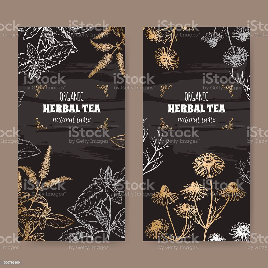 2 labels for peppermint and chamomile organic herbal tea. vector art illustration
