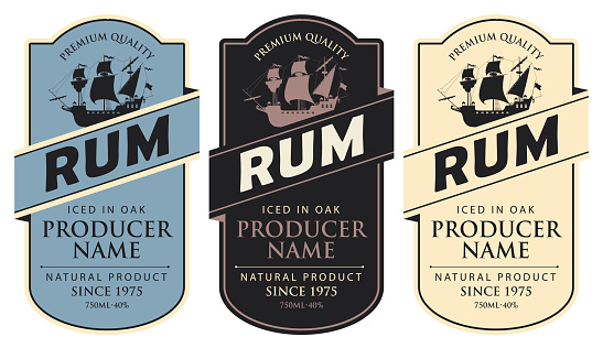 labels for Rum with sailing ship and inscriptions