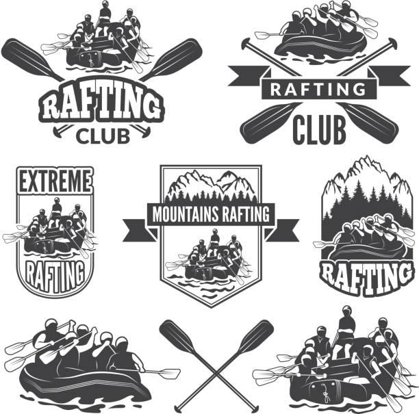 Etiketten für Sportclub von extrem gefährlichen Wassersport. Vektor-Bilder von rafting – Vektorgrafik