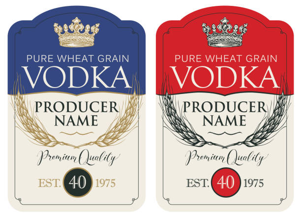 Labels for vodka with ears of wheat and crown Set of two vector labels for vodka in the figured frame with crown, ears of wheat and inscriptions in retro style. Premium quality, pure wheat grain vodka stock illustrations