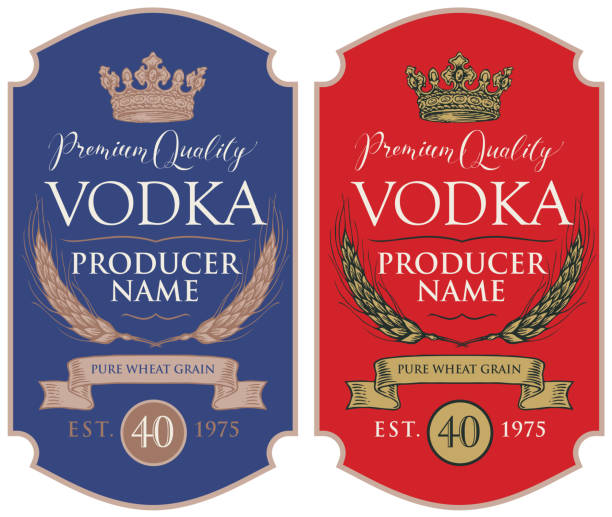 Labels for vodka with ears of wheat and crown Set of two vector labels for vodka in the figured frame with crown, ears of wheat, ribbon and inscriptions in retro style. Premium quality, pure wheat grain vodka stock illustrations