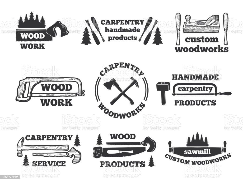 木工所のラベル大工道具とモノクロ イラスト のこぎりのベクターアート