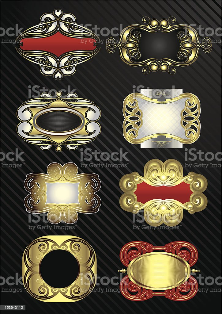 Labels gold set royalty-free labels gold set stock vector art & more images of abstract