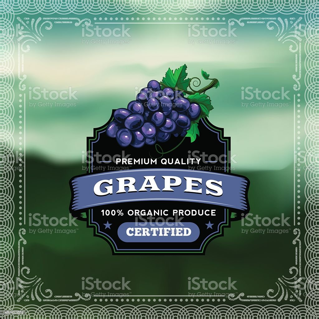 F&B Labels - Grapes royalty-free stock vector art