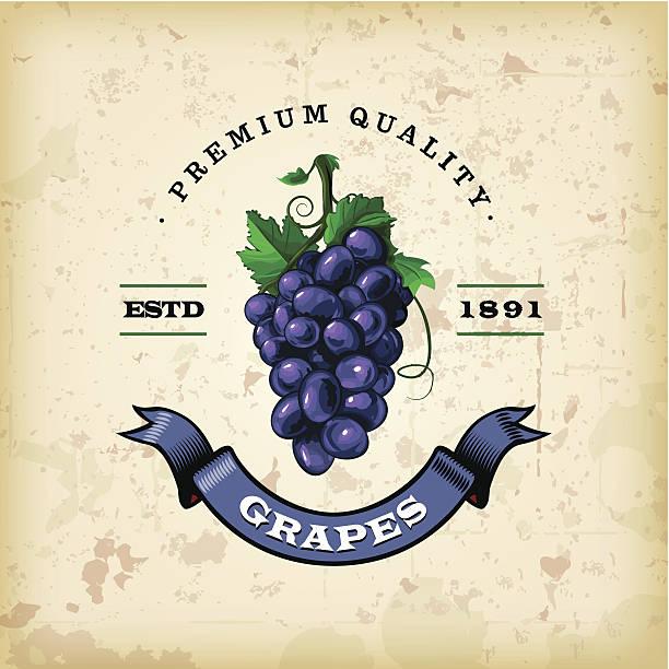 bildbanksillustrationer, clip art samt tecknat material och ikoner med f&b labels - grapes - vindruva