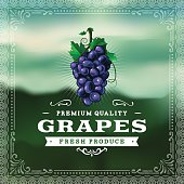A vintage styled label featuring grapes. EPS 10 file, layered & grouped, with meshes and transparencies (shadows & overall effects only).