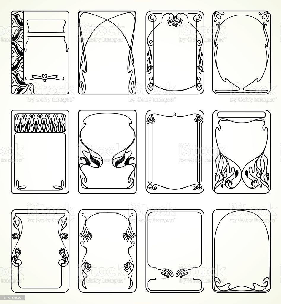 Labels in art nouveau vector art illustration