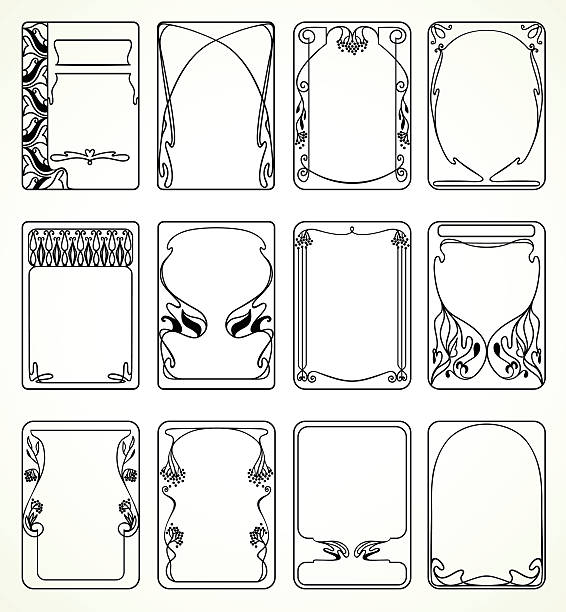 labels in art nouveau - art nouveau stock illustrations, clip art, cartoons, & icons